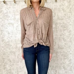 Free People Gauze Button Down